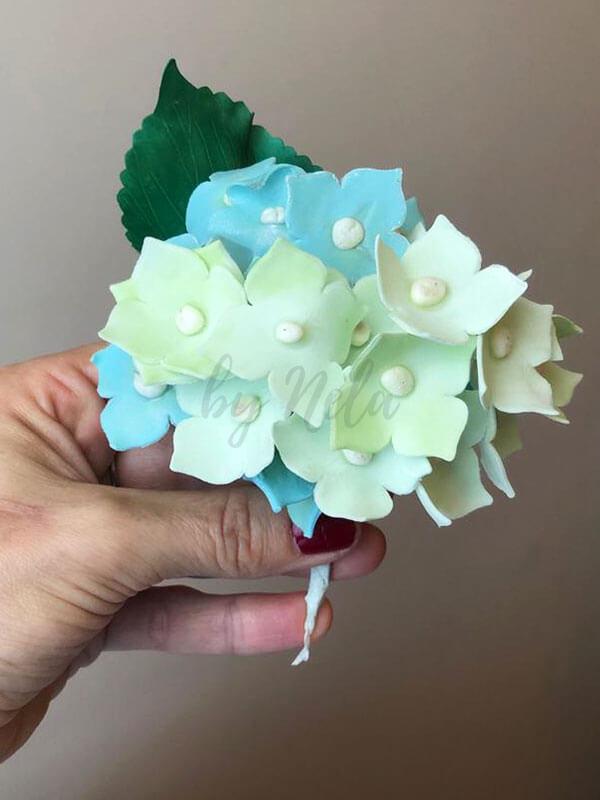 Bouquet de flores verde agua y celeste