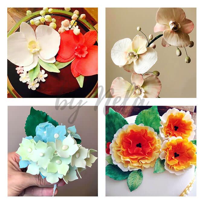 Collage de Bouquets de pasta de azúcar